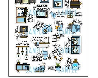 cleaning planner stickers chores jpeg printable file for erin happy planner filofax