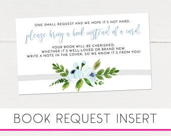 Please Bring a Book, Instead of a Card Insert, Country Floral Baby Shower, Book Request Card, Printable, Instant Download Baby Shower [498a]