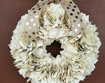 Book page wreath, paper wreath