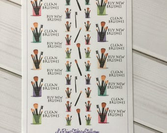 Make up Brushes (Clean / Buy) Stickers for Passion Planner, Erin Condren, Happy Planner, Filofax, Bujo, Kikkik....etc
