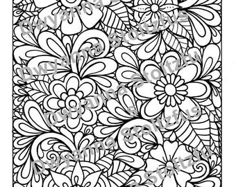 Henna Flowers Coloring Page JPG