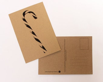 Candy Cane Christmas card, greeting card, postcard, postcard