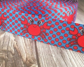 "Crab ribbon - Beach ribbon - Red blue ribbon - 1"" Grosgrain ribbon - Polka dot ribbon - Sea life ribbon - Sea animals - Hair bow supply"
