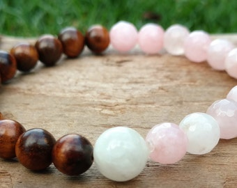Mala Bracelet Made of Rosewood, Rose Quartz and Moonstone, Bracelet Mala, One of a Kind Mala, Healing Gift for Her