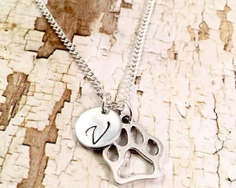 Paw Print necklace,  Wild Cats charm,  Initial necklace, NU Wildcats, Clemson, Dog Mom, Mascot jewelry, College jewelry, Cut out paw charm