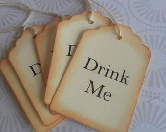 Drink Me gift tags, Drink Me favor tags, Drink Me tags, Vintage style tags, Set of 15 or 50
