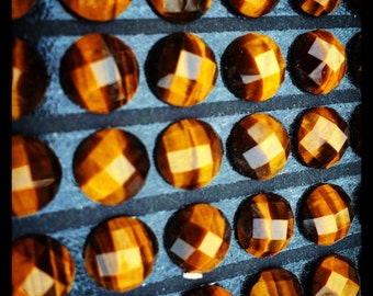Pair Tiger Eye Faceted Round Cabochon - 10m - 2 pieces