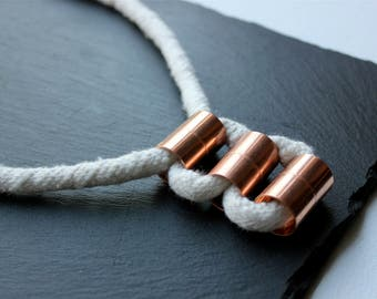 Cotton Rope Necklace, Copper Jewelry, Minimalist, Industrial Jewelry, Knots and Pipes, Pipe Necklace, Recycled Leather, Statement, Toronto