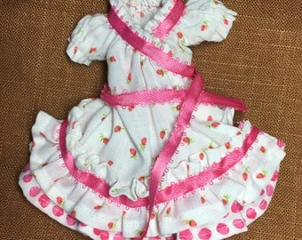 Spring Dress for Blythe sized doll, short Puffed Sleeved, ruffled, pink and white polka-dot wrap dress for Blythe or similar sized doll