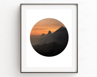Orange Wall Art, Sunrise Photography, Mountain Photography, Circle Art, Mountain Print, Nature Print, Orange Print, Circle Print