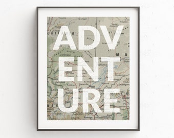Adventure Wall Print, Old Map Wall Print, Africa Wall Print, Map Adventure Wall Print, Map Wall Art Decor, Travel Quotes, Brown Wall Print