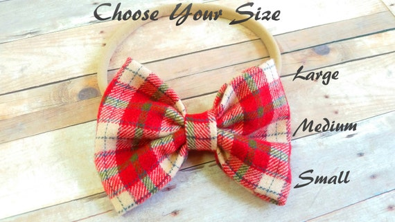 Plaid Bow Headband ,Fabric Bows, Baby Bow Headband, Headband Bow, Red Plaid Bow, Bow Hair Clip, Nylon  Headband, Fabric Nylon Bows,