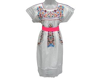 Mexico dress, Vintage mexican, cotton 100% mexico peasant dress m/l K76