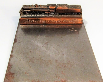 Vintage Reading Railway System Bronzed Metal Advertising Paperweight on Clipboard Authentic Railroad Locomotive Memorabilia