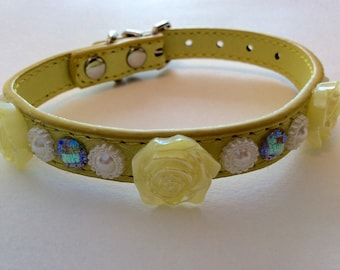 Dog Collar with Gems, Lemon, Weddings, Special Occasions, Photo Prop
