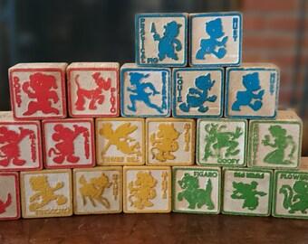 20 Disney Wooden Blocks/ Disney Vintage Blocks/ Disney 1960s Wood Block Toys/ 20Disney Building Blocks/ wooden blocks/ Alphabet blocks