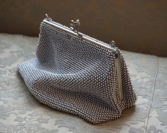 Vintage Silver Bead Lumured Evening Bag/ Purse/ Petite Bead by Lumured/ Mad Men Purse/ 1960s/ Chain Handle