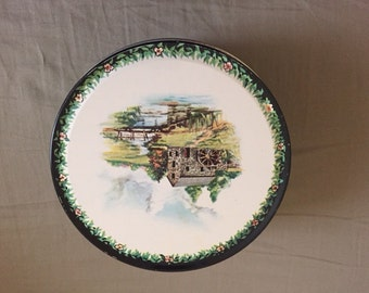 Vintage Green Tin Container with Rural Water Wheel House Scene