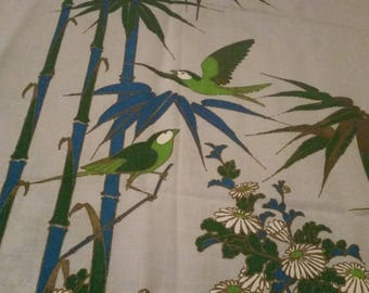 Alfred Shaheen Designer Print on Linen. Hand Printed in Hawaii. Birds, Bamboo and Flowers. Vivd Colors. Excellent Condition!