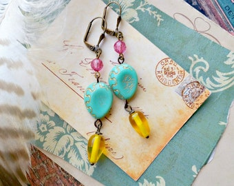 amelia. colorful beaded earrings, aqua blue gold yellow pink, czech glass, recycled vintage beads, shabby jewelry, flea market style, bff