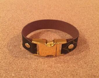 Unisex bracelet upcylced from Louis Vuitton canvas