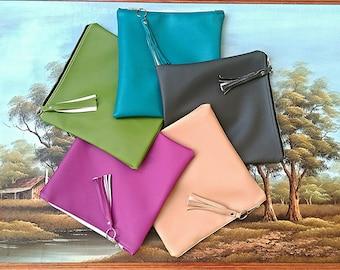 Vegan faux leather clutch, fold over, bag, zip bag, grab bag, sack bag, purse