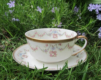 "Vintage China ""Syracuse"" Cup and Saucer ""Arcadia"" Ivory Gold Rimmed Teacup Pink Blue Pastel Flower Garland Swag Tea Party Decor Art Gift"