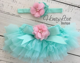 SET Mint/Aqua tutu skirt bloomers diaper cover, light pink flower headband bow, ruffles all around, newborn infant toddler little baby girl