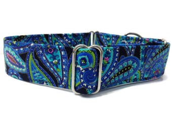 Blue Black and purple Paisley 1.5 Inch Martingale Collar, Martingale dog collar, Paisley martingale, girl dog martingale, girl dog collar
