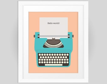 Retro typewriter with Hello World quote print 8x10 INSTANT DOWNLOAD