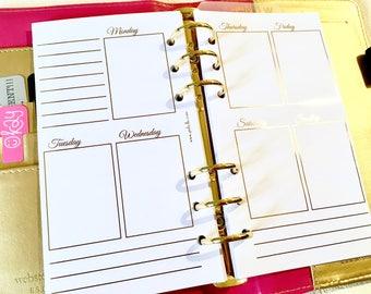 FOIL - Une semaine sur deux pages - Recharges Personal - Filofax - Kikki K - Paperchase - Agenda - Classeur anneaux - 6 trous - Sans date