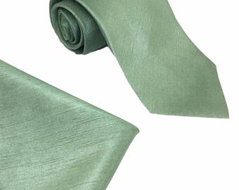 Sage Green Mens Luxury Dupion Neck Tie with matching Pocket Square