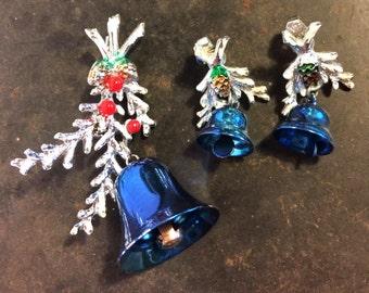 Jingle Bells Brooch and Clip-on Earrings