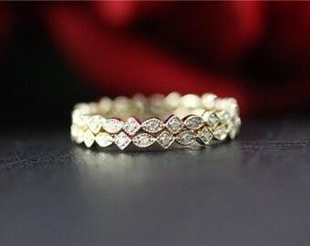 Solid 14K Yellow Gold Diamond Band Set/Full Eternity Band Set/Weddind Ring Set/Engagement Ring/Wedding Band Set/Match Band Set/Promise Ring