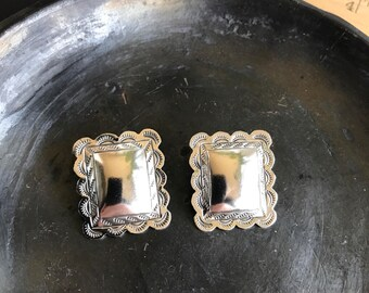 Sterling silver large square Southwestern motif stud earrings stamped Native American design 925 vintage dramatic