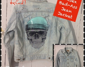Kids Sz L, 18, Cool Jean jacket,cap n skull decal, bleached and destroyed for that hard lived in look and feel.