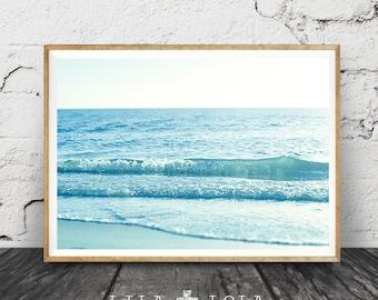 Ocean Water Waves Photography, Beach Wall Art, Coastal Print, Modern Minimalist Large Poster, Printable Digital Download, Blue Pastel Decor