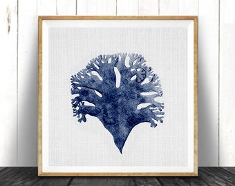 Beach Nautical Coastal Decor, Navy Blue Square Coral Print, Printable Digital Download, Sea Pulp, Ocean Plant Life, Seaweed Illustration,
