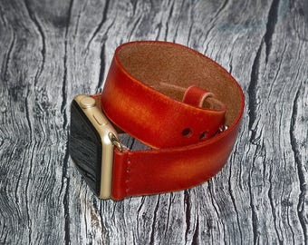 Red Double wrap genuine leather apple watch band 42mm / 38mm // apple watch strap - iwatch band leather accessories - iwatch strap adapter