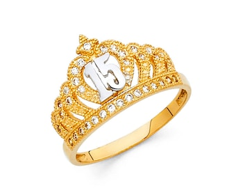 10K Solid Yellow Gold Sweet 15 Quince Anos Quinceanera Birthday Crown Ring