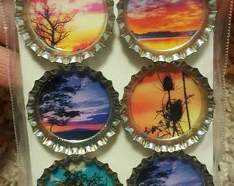Colorful Sunset Bottle Cap Magnets