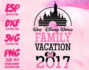 Disney family vacation Minnie Clipart , SVG Cutting , ESP Vectors files , T shirt , iron on , sticker ,Personal Use