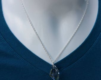 Silver Plated, Blue Shadow Glactic Swarovski Necklace
