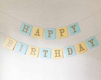 1st Birthday Banner, Blue Birthday Banner, Baby Shower Banner, Party Decoration, Birthday Decoration