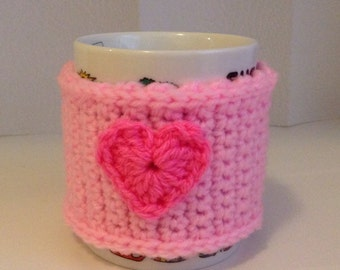 Pink Heart Mug Cozy, Crochet Mug Warmer