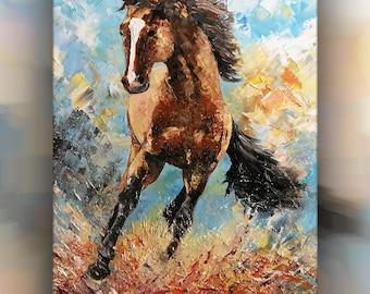 Original Horse Oil Painting Knife-32x24x1.5 Inches-80x60x4cm - Impasto art-horse passion-Horse painting-animal art-Horse oil painting knife