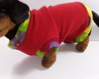 A fleece doggie sweater with  a Christmas feeling in  Red and Green-size Small