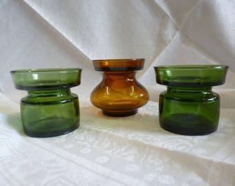 VINTAGE 1960s DANSK Design Glass Candle Holders x 3 Danish