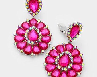 Clip On Earrings | CE36 | Large Clip On Earrings | Fuchsia Clip On Earrings| Clip On Pageant Earrings | Clip on Prom Earrings