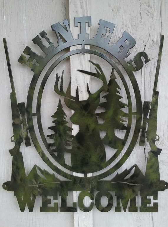 Camouflaged Hunters Welcome Sign,Metal Art,Cabin Decor,Man Cave Decor,Wall Art,Hunting,Outdoors Enthusiast